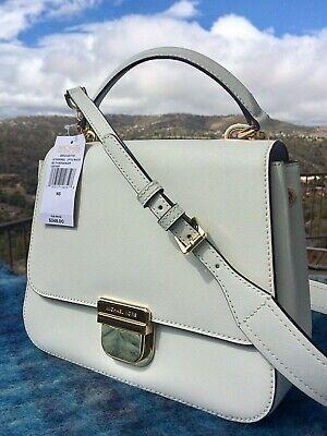 NWT MICHAEL KORS BRIDGETTE Messenger Cross Body Bag Purse OPTIC WHITE Gold $348