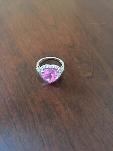 Pink Heart Gemstone Ring with Cultured Diamond