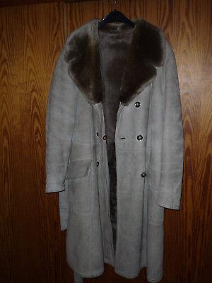 Wildleder Leder Fell Mantel (Damen Wildledermantel mit gewachsenem Fell (sehr warm, dichtes, dickes Fell) Far)