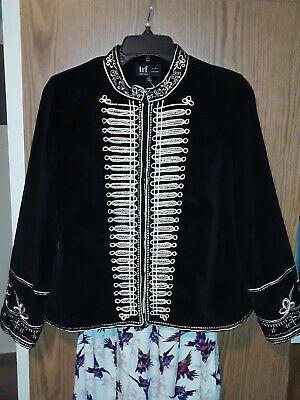 Zara black gold velvet embroidered military jacket S