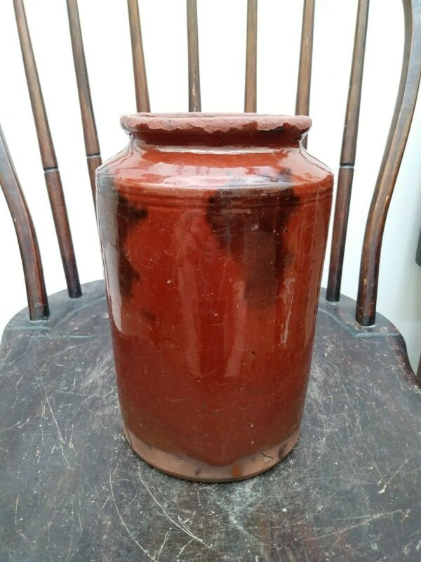 Antique Redware Preserves Jar Manganese Glaze Redware Pottery 1800s
