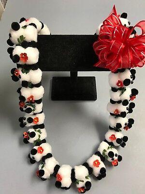 Hawaiian Black White Teddy Bear Pom Pom Lei Graduation Gift Maile Red Flower (Maile Lei)