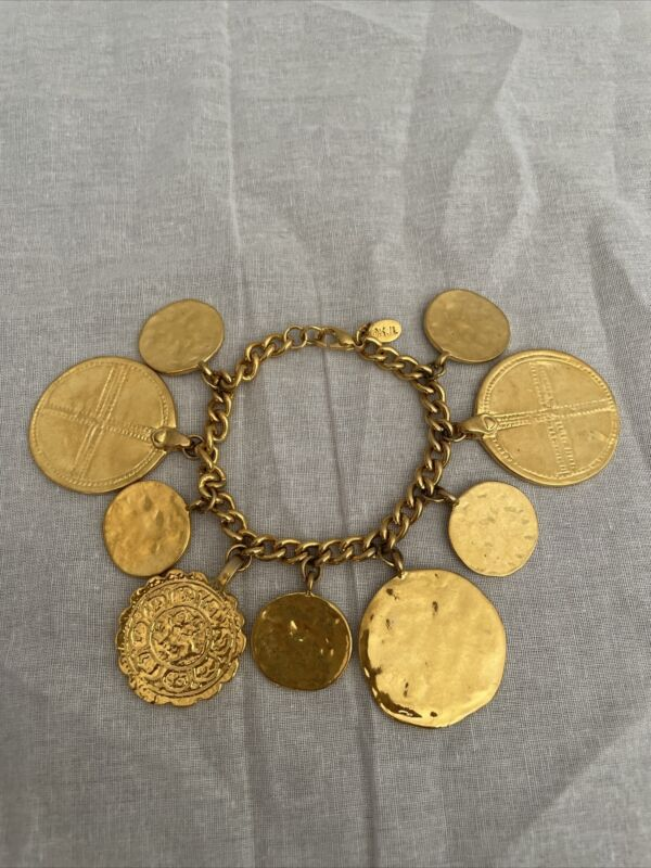 "KENNETH JAY LANE HAMMERED GOLD COIN CHARM BRACELET 7.5"""