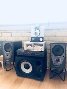 MINT MISSION M72 BOOKSHELF SPEAKERS & STANDS VINTAGE STEREO