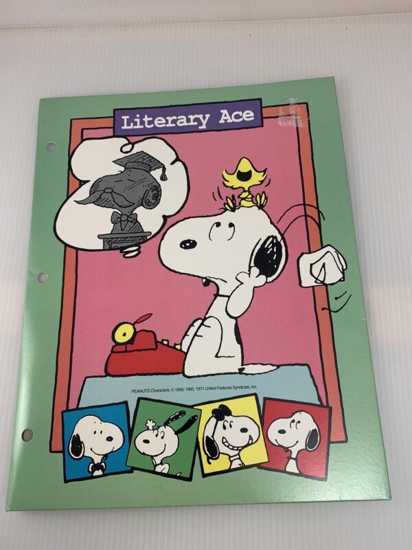 5 Vintage Peanuts Snoopy Portfolio Folders Originals 80's Schulz School Supplies