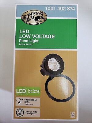 Low Voltage Pond - NEW Hampton Bay Low-Voltage Black Outdoor Integrated LED Submersible Pond Light