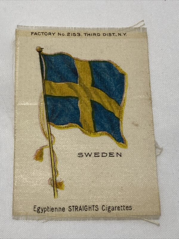 1900s Tobacco Silks SWEDEN Flag Egyptienne Straights Cigarettes Factory 2153 NY