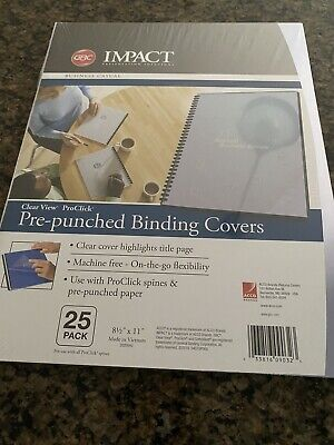 Gbc Impact Proclick Pre-punched Presentation Covers 11 X 8-12 Clear 25pack