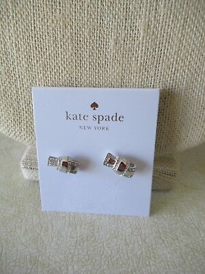 NWT Kate Spade All Tied Up Silver Tone Bow Tie Knot Pave Crystal Stud Earrings