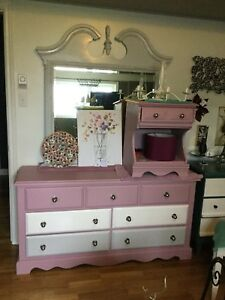 Purple long dresser with mirror