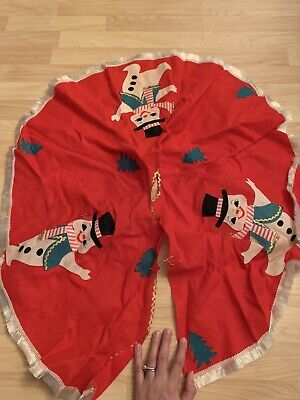 Vintage Mid century Small Red Christmas Tree Skirt With Snowman Design