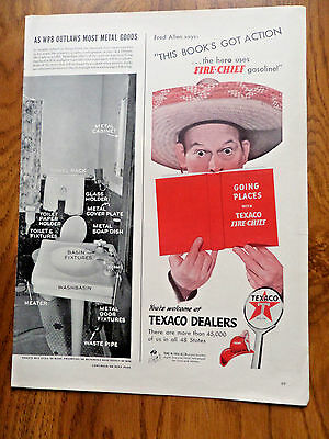 1942 Texaco Fire-Chief Gasoline Ad  Fred Allen Lot of 3 Different Ads