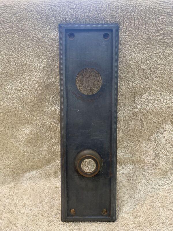 Antique Cast Iron Sargent & Co Plain Door Knob Doorknob Back Plate Escutcheon