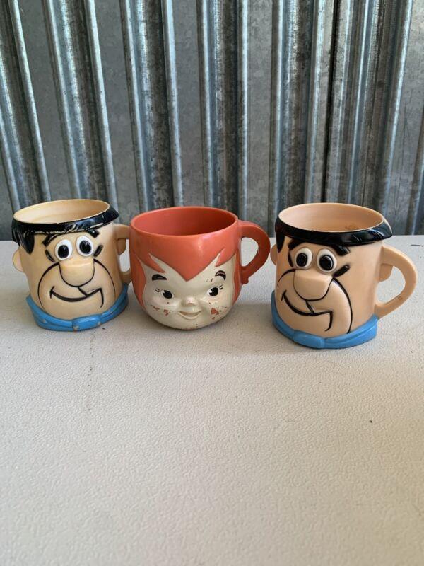 Vintage 1970's Fred Flintstone Vitamins Cartoon Advertising Mug Cup Fred Pebbles