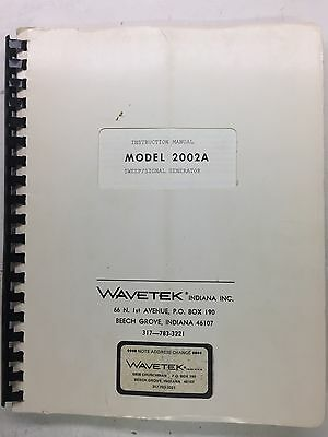 Wavetek 2002a Sweep Signal Generator Instruction Manual Pn 4901-03-9040