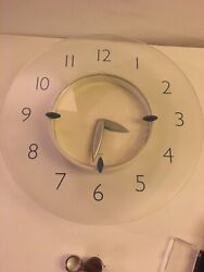 Vnt. 13 Michael Graves Wall Clock Frosted Acrylic Blue White Clock & Silv Arms
