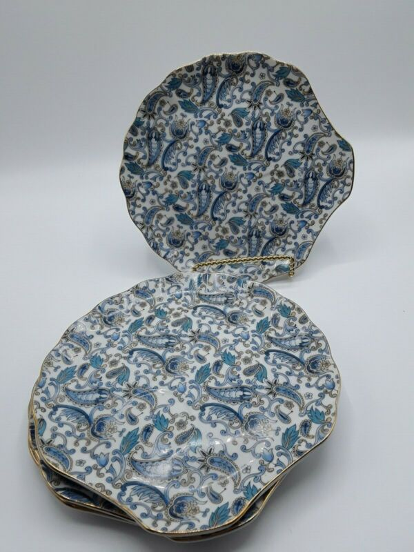 """LEFTON CHINA- 4- LUNCHEON -SNACK PLATES 8 """"Hand painted BLUE PAISLEY 2340"""
