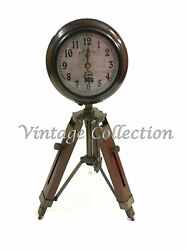 5 Handmade Wooden Tripod Table Clock Nautical Maritime Decorative Collectables