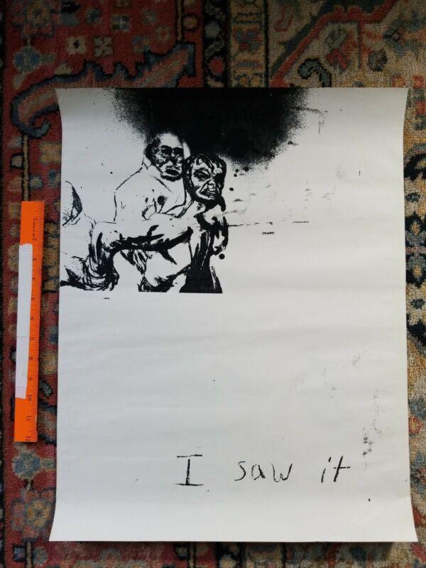 Protest POSTER BOYCOTT Rare Vintage PRINT Hippie PEACE LOVE 1960s 1970s WAR ART