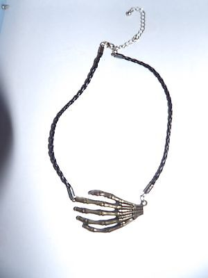 SCARY BRONZE TONE SKELETON HAND PENDANT ON TWISTED THONG - GOTH? 434-33 - Scary Thongs