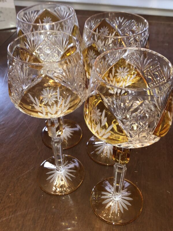 4 Vintage Bohemian Czech Amber Gold Cut to Clear Crystal Wine Glasses Stemmed