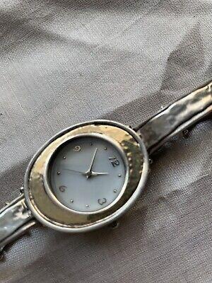 Ladies sterling silver & 9ct gold bracelet watch Israel artisan hammered effect
