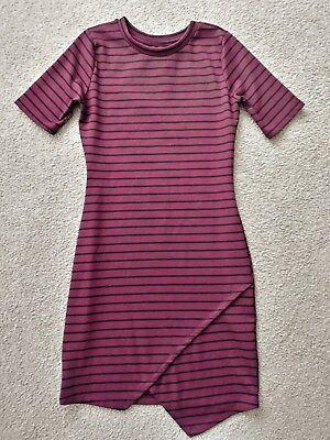 Black Uneven Hem Dress - Burgundy Black Striped Bodicon Polyester Rayon Spandex Mini Dress Uneven Hem S M