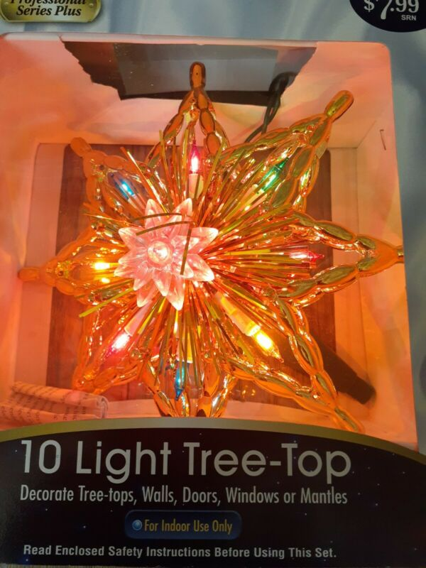 Vintage Gold Star Tinsel Christmas Tree Topper 10 Light NEW IN BOX