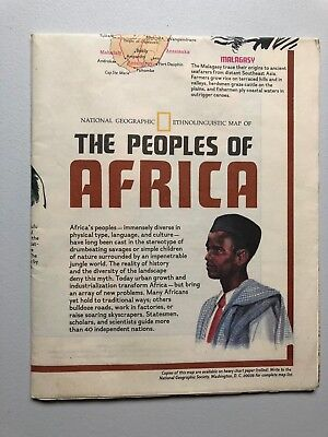 Vintage National Geographic Society PEOPLES OF AFRICA Map and Poster