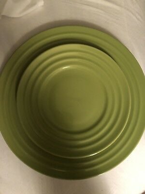 "3 RACHAEL RAY Double Ridge 11"" Dinner Plates Dishes Green Stoneware Pottery for sale  Providence"