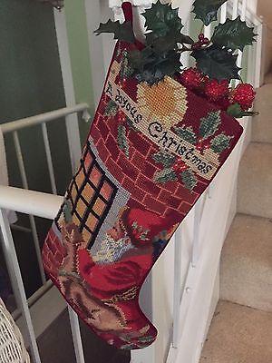 Set of 2 Needlepoint Christmas Stockings-Santa and Angels