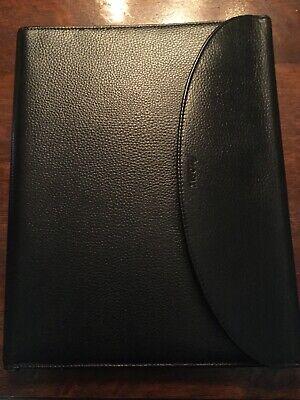 Filofax Tri-fold Leather Folder Black Flap Closure