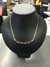 9CT Yellow Gold Snake Chain Necklace with Red Stones and Diamonds Dandenong Greater Dandenong Preview