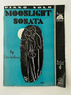 Moonlight Sonata Sheet Music by L.Von Beethoven 1936 First Movement -