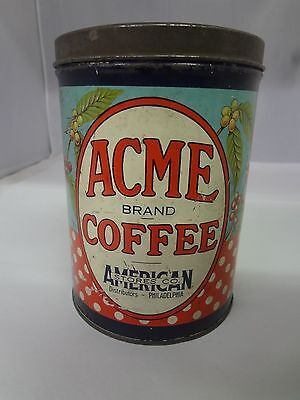 VINTAGE ACME  BRAND COFFEE TIN ADVERTISING COLLECTIBLE  CAN  322-W