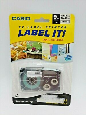New Casio Ez-label Printer Label It Tape Cartridge 9mm 38 Clear Tape Black Ink