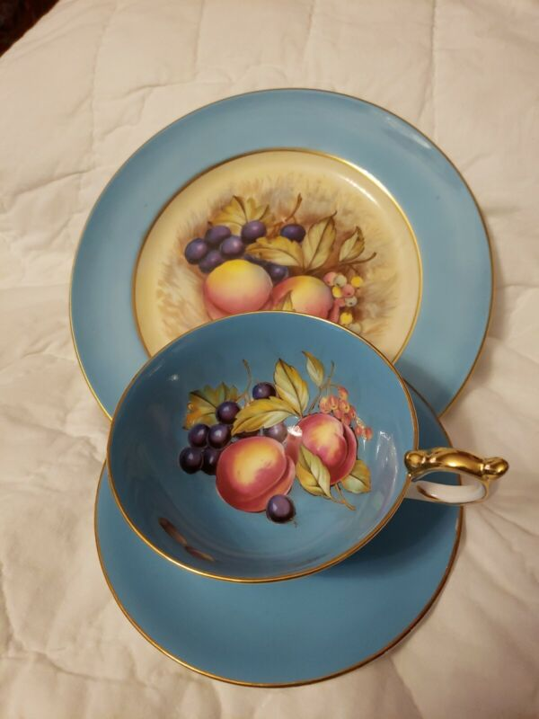 CUP & SAUCER & PLATE --Aynsley Orchard Trio BLUE--HAND PAINTED