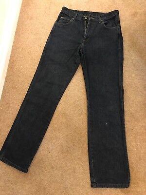 (Wrangler jeans mens navy denim waist 32 leg 34 regular fit genuine)