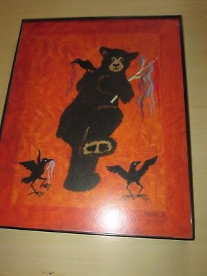 Jan Hartley Wise Bear and Black Birds Crows Framed Picture