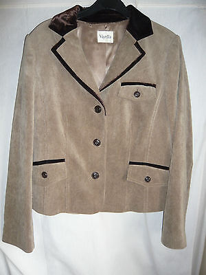 Tan Velvet Cord - beautifully styled ladies light tan fine cord viyella jacket velvet trim uk 10