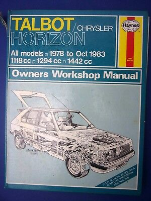 Haynes Owners Workshop Manual Talbot Chrysler Horizon 1978  to 1983 All 1712