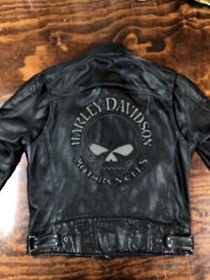 Harley Davidson Reflective Willie G Skull Black Leather Jacket Men's Medium