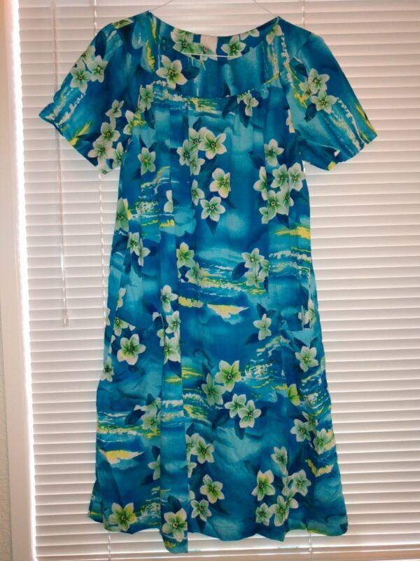 Hawaiian Vintage Blue Floral Barkcloth Muumuu Caftan Midi Dress