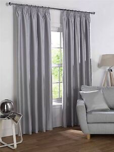 SILVER FAUX SILK BLACKOUT LINED PENCIL PLEAT CURTAINS Cheltenham Charles Sturt Area Preview