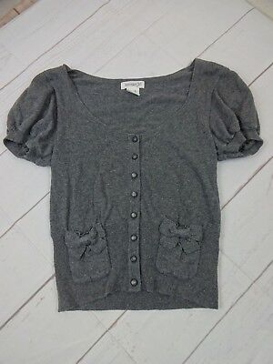 Kensie Girl Juniors Size S Grey Cotton Blend Short Puff Sleeves Sweater  J482 Puff Sleeve Cotton Blend