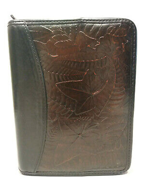 Franklin Quest Brown Black Textured Leather Zip Binder Planner Embossed 6 Ring