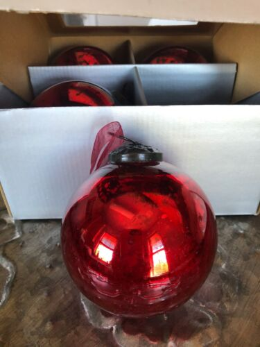 """VINTAGE KUGEL STYLE MERCURY GLASS~CHRISTMAS RED~4 """" ORNAMENTS~S/4~NEW!"""