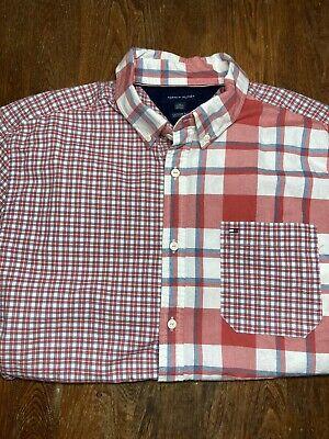 Tommy Hilfiger Men's XL Short Sleeve Plaid Button Down 100% Cotton VERY NICE!!