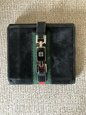 Nice Vintage Gucci Black Leather Wallet Silver Hardware Red Green With Serial