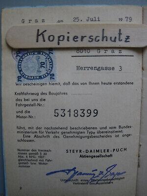L821: Steyr Daimler Puch TypenscheinM50  1968 1 Besitzer